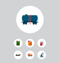 icon flat fuel set of ship oil pump jerrycan and vector image
