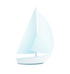 Isolated clip art yacht oceanic sailing boat vector