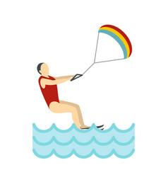 Kitesurfing icon flat style vector