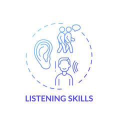 Listening skills blue gradient concept icon vector