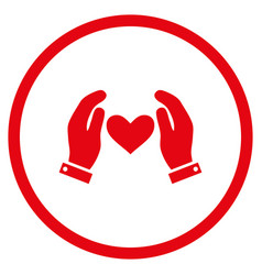 Love heart care hands rounded icon vector
