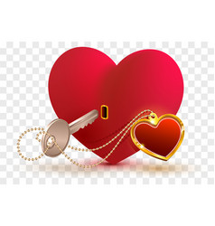 Love is key to heart of your beloved red heart vector