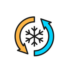 low frost no frost freezing flat color line icon vector image