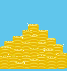 Many gold coins money save vector