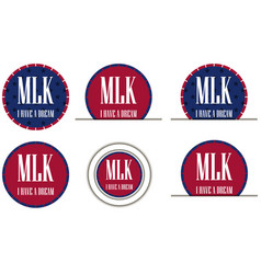 Martin luther king day badges icons vector