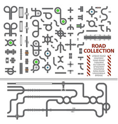 mega collection of road junctions street road vector image