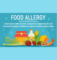 Natural food allergy concept banner flat style vector