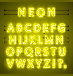 Neon font city text night yellow alphabet vector