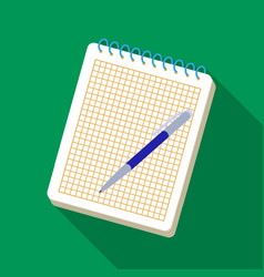 Notebook and pen icon in flat style isolated on vector