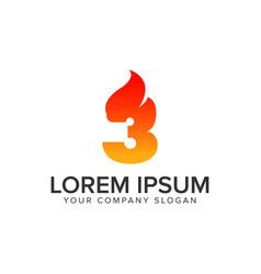 Number 3 ignition flame logo design concept vector