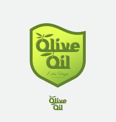 olive oil logo and label as heraldic shield vector image