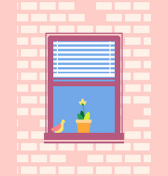 open window with jalousie bird sitting on sill vector image