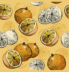orange seamless background citrus pattern vector image