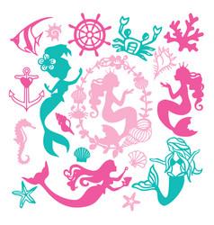 Paper cut silhouette vintage mermaid nautical set vector