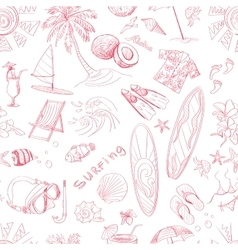Pattern of doodle sketch surfing icons vector