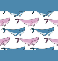 pattern with a small cartoon whale vector image