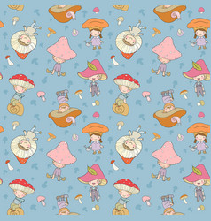 Pattern with cute cartoon gnomes mushrooms forest vector