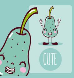 Pear cute cartoon vector