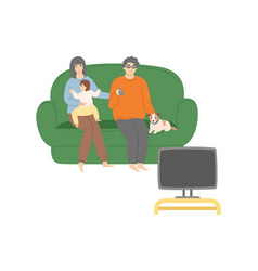 people watching tv sitting on sofa family vector image