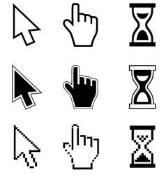 Pixel cursors icons-arrow hourglass hand mouse vector
