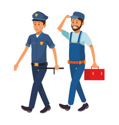 policeman and worker vector image