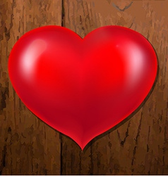 Realistic Red Heart With Wooden Background vector