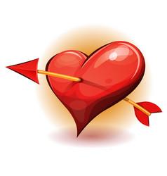 Red heart icon pierced arrow vector