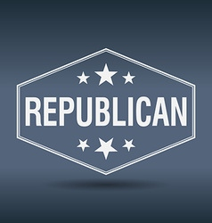 Republican hexagonal white vintage retro style vector