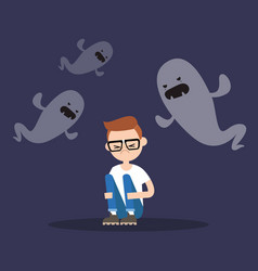 scared nerd surrounded by ghosts flat editable vector image