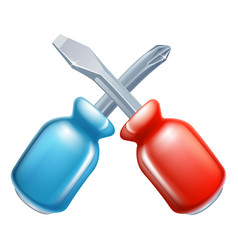 Screwdrivers crossed tools icon vector