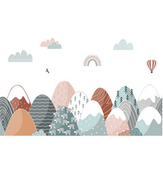 seamless pattern with doodle mountains in vector image