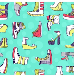 Seamless pattern with original shoes vector