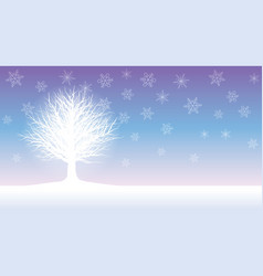 seamless winter field with a rimed tree vector image