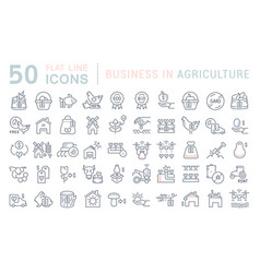 set line icons business in agriculture vector image