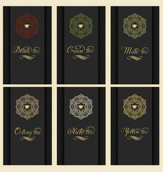set of cards with a variety of tea vector image