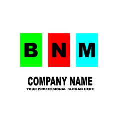 simple logo the three letters bnm are located on vector image