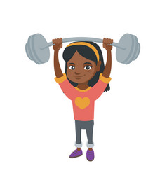 Strong african girl lifting heavy weight barbell vector