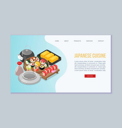 Sushi japanese food website vector