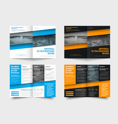 Template is a bi-fold business brochure with a vector