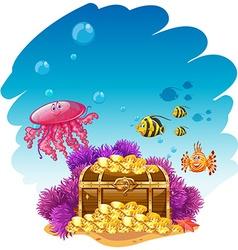Uderwater scene with treassure box and fish vector image
