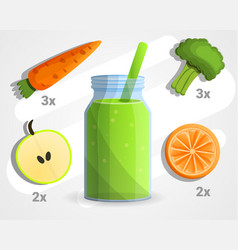 vegan green smoothie concept background cartoon vector image