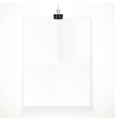 White paper hanging on binder isolated on a white vector image