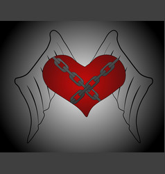 winged heart with chains vector image