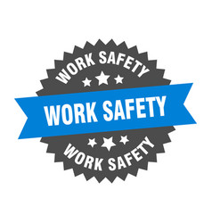 Work safety sign work safety blue-black circular vector