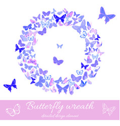 wreath of butterflies design element template vector image