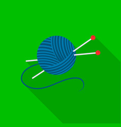 Yarn and needles icon of for vector