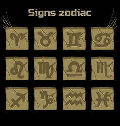 zodiac signs and a set of badges on old stone vector image