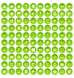 100 construction icons set green circle vector