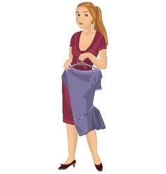 Retro girl holding purple dress vector image vector image