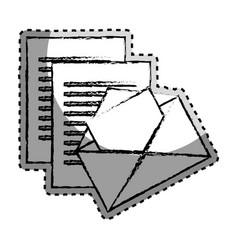 sticker monochrome blurred with envelope mail and vector image